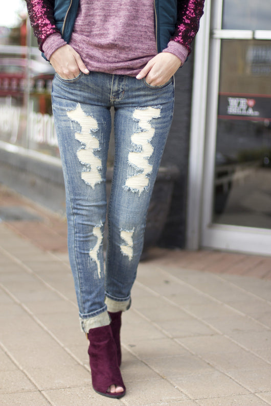 DIRTY WASH SKINNY JEANS