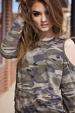 RAVEN CAMO COLD SHOULDER TOP