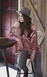 CADIANCE VELVET OFF SHOULDER TOP