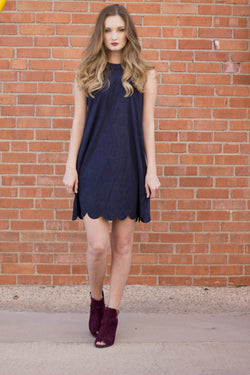 MY FAIR LADY NAVY SUEDE DRESS