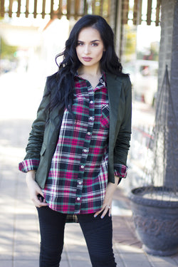 DANIELLA OVERSIZED PLAID TOP