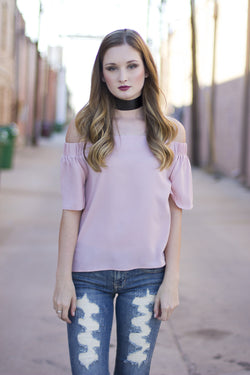 SARAH OFF SHOULDER TOP- BLUSH