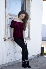 PATTY VELVET PLEATED TOP