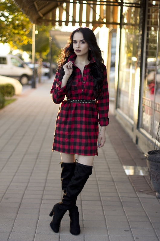 CHECK HER OUT FLANNEL DRESS