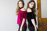 VIOLET OFF SHOULDER VELVET TOP