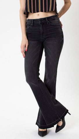 Charcoal Floating on Flare Jeans