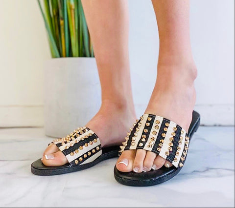 Stripes and Studs Sandals