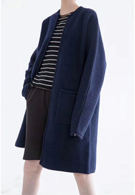 DARK BLUE LONG CHUNKY WOOL CARDIGAN