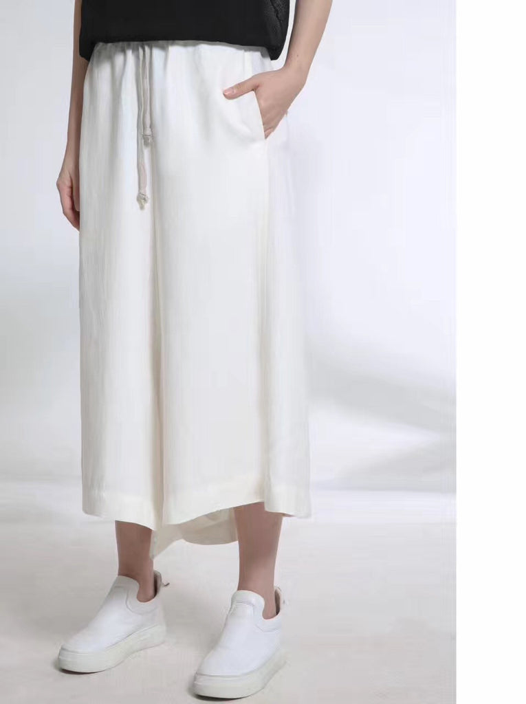 Wide White Long Trousers