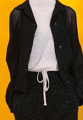 cropped black semi-sheer jacket