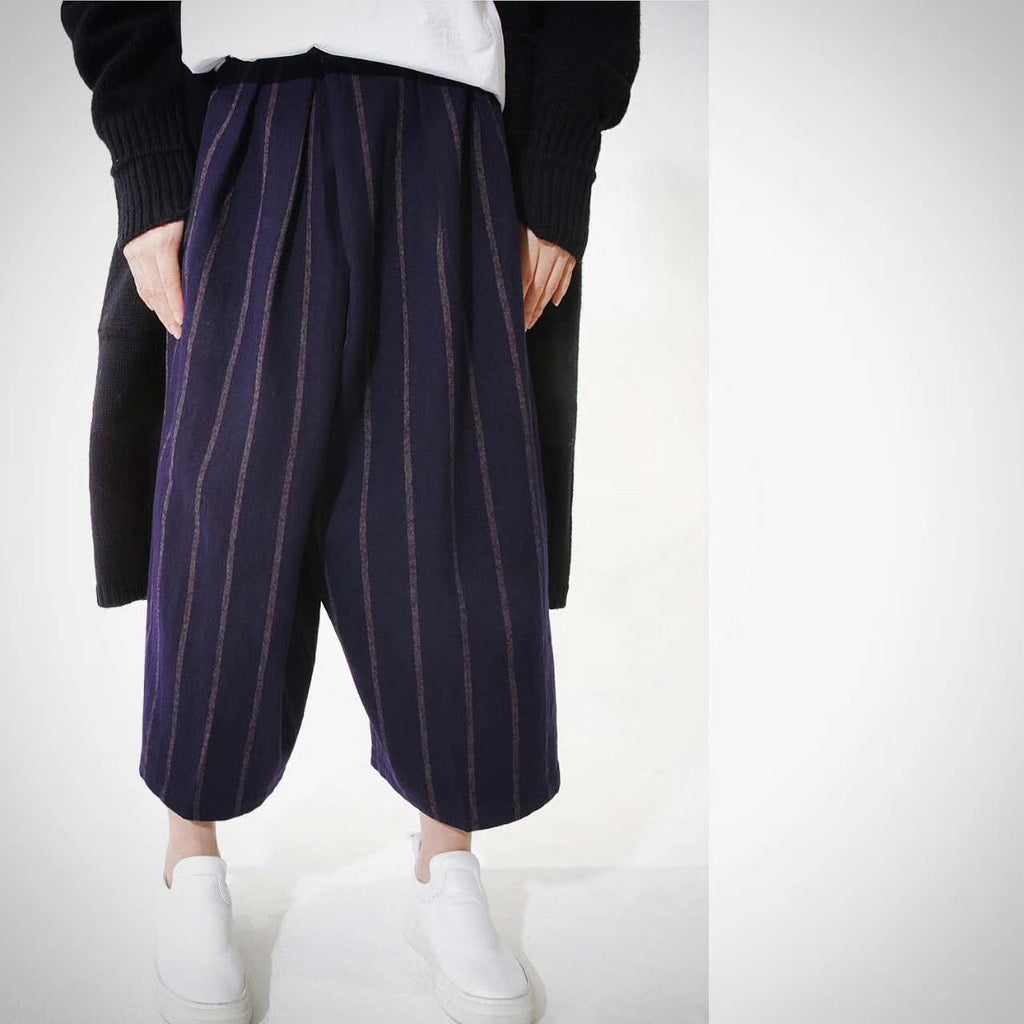 LUXMIX signature Wide leg Stripe Trousers