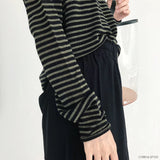 Green striped long sleeve knitwear