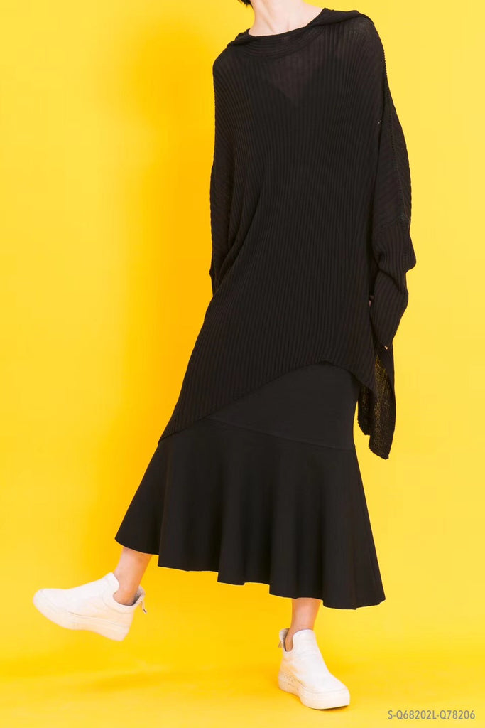 Black shift knitted skirt