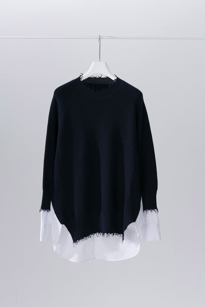 Ripped long sleeve knitted shirt