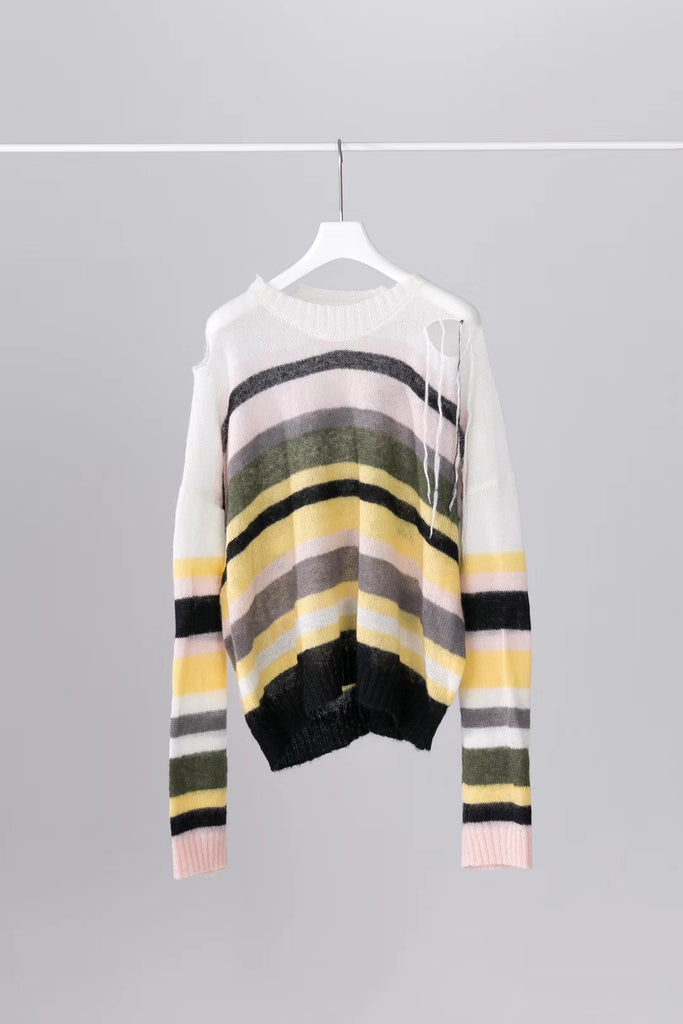 Multi colour stripe mohair knitted sweater