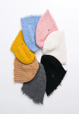 Merino wool ripped knit hat