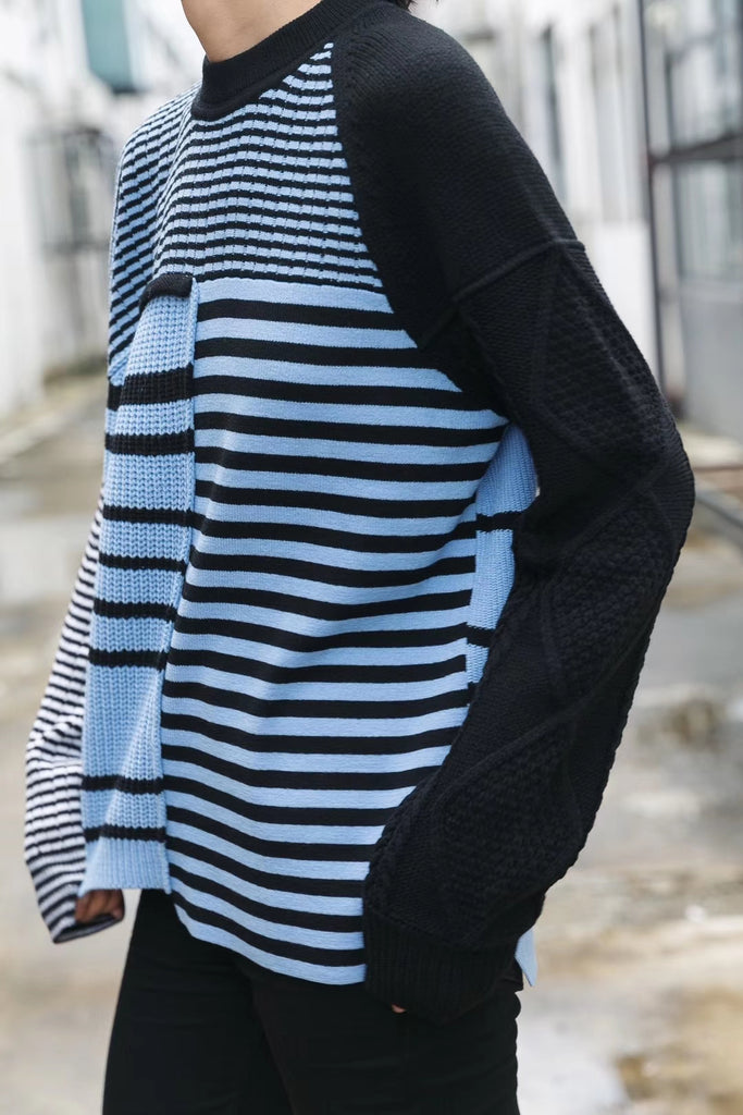Long sleeve stripe knit jumper sweater