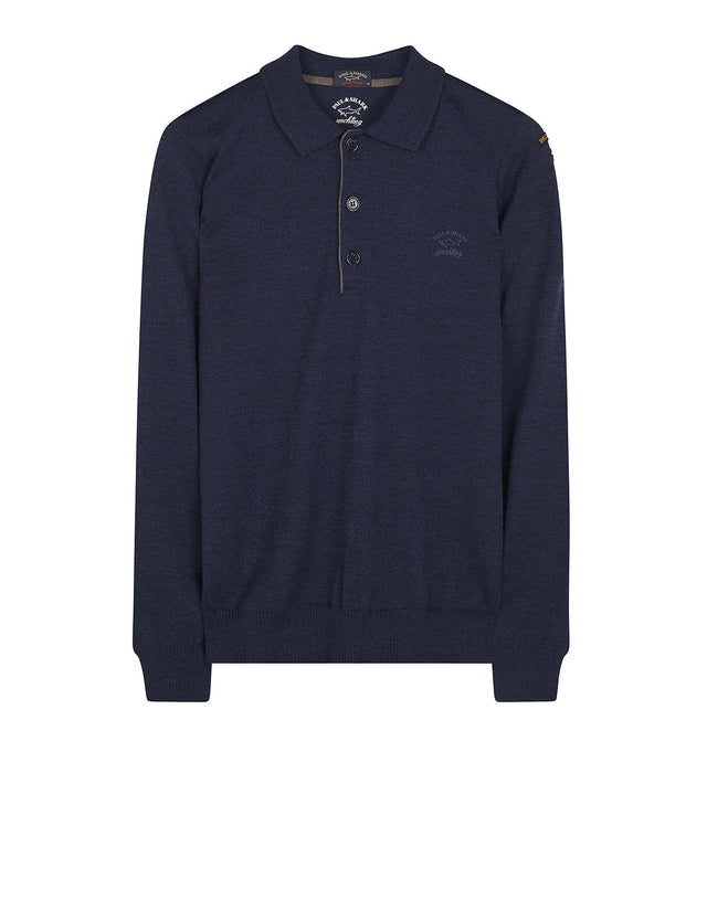 Long Sleeve Shark Fit Wool Polo Shirt in Blue
