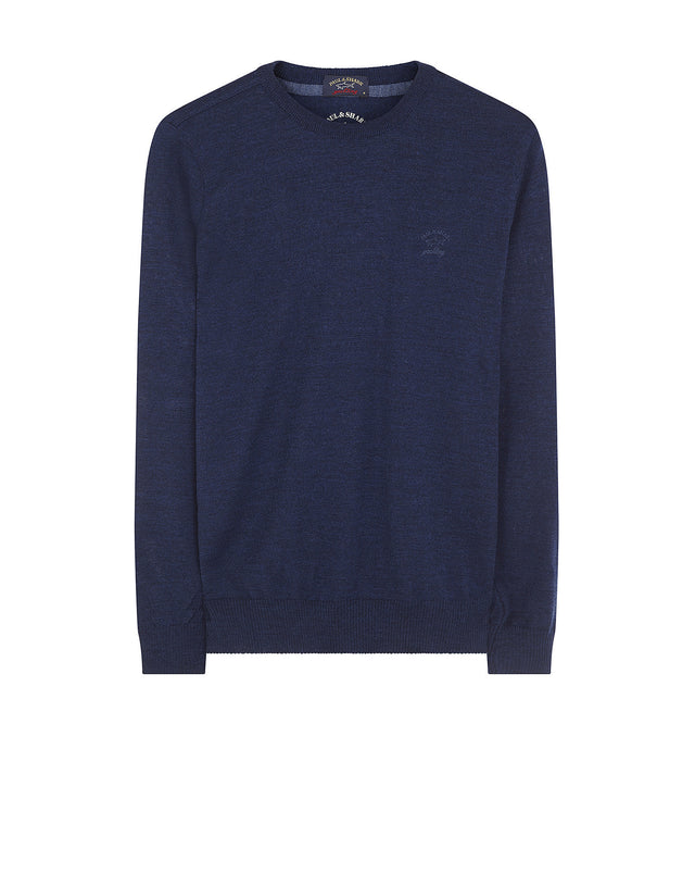 Crewneck Shark Fit Wool Jumper in Blue