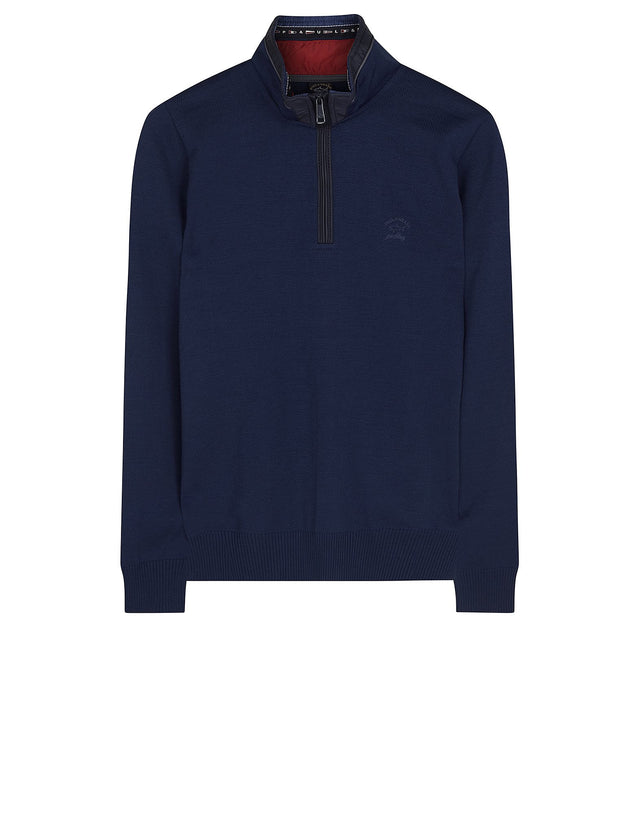 Shark Fit Knitted Wool Quarter Zip Sweater with Collar Detailing in Blue
