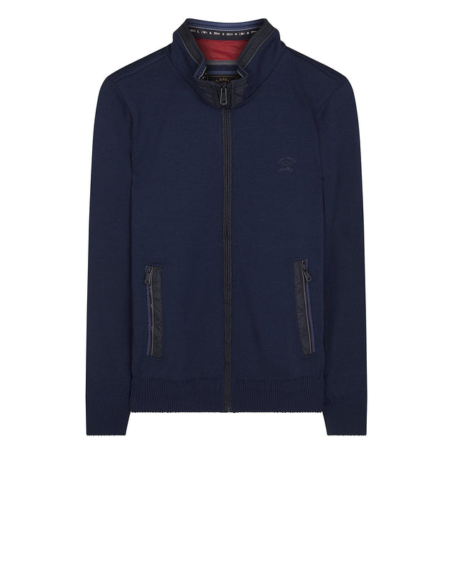 Shark Fit Knitted Wool Zip Blouson in Blue