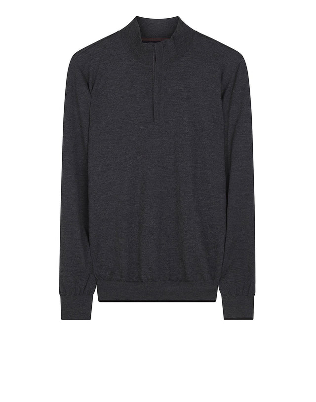 Cashmere Blend Funnel Neck Jumper in Grey
