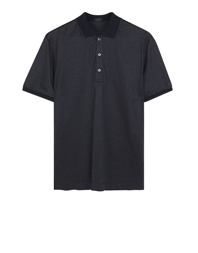 Striped Short Sleeve Polo Shirt in Grey