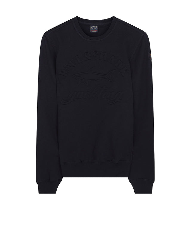 Shark Fit Crewneck Sweater with Embossed Logo in Blue