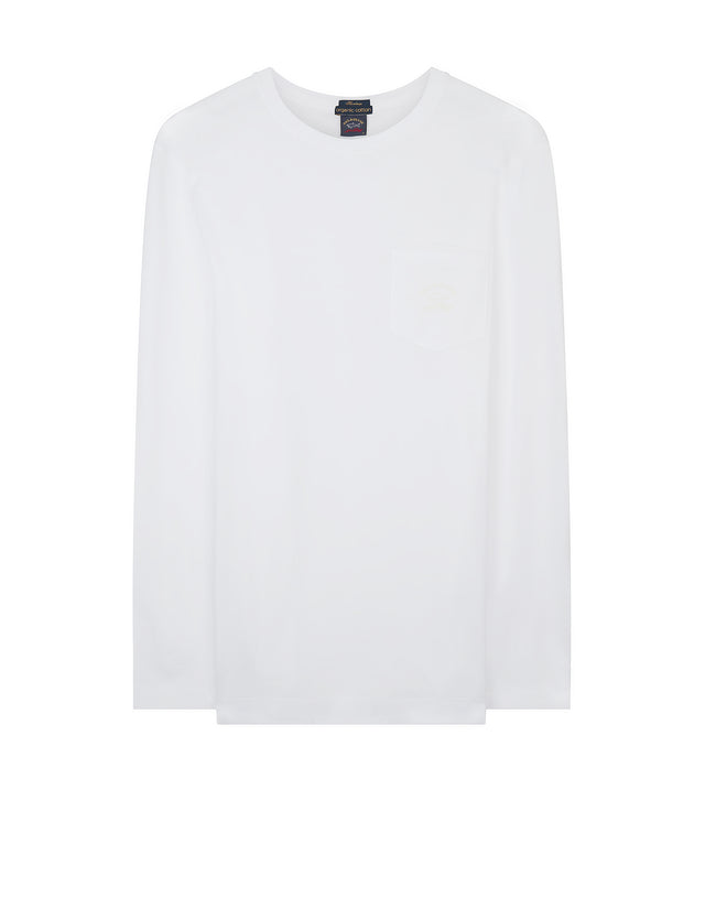 Crewneck Long Sleeve Pocket T-Shirt in White