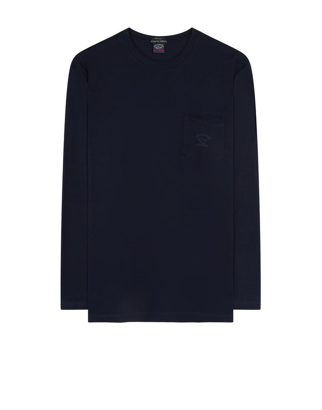 Crewneck Long Sleeve Pocket T-Shirt in Navy