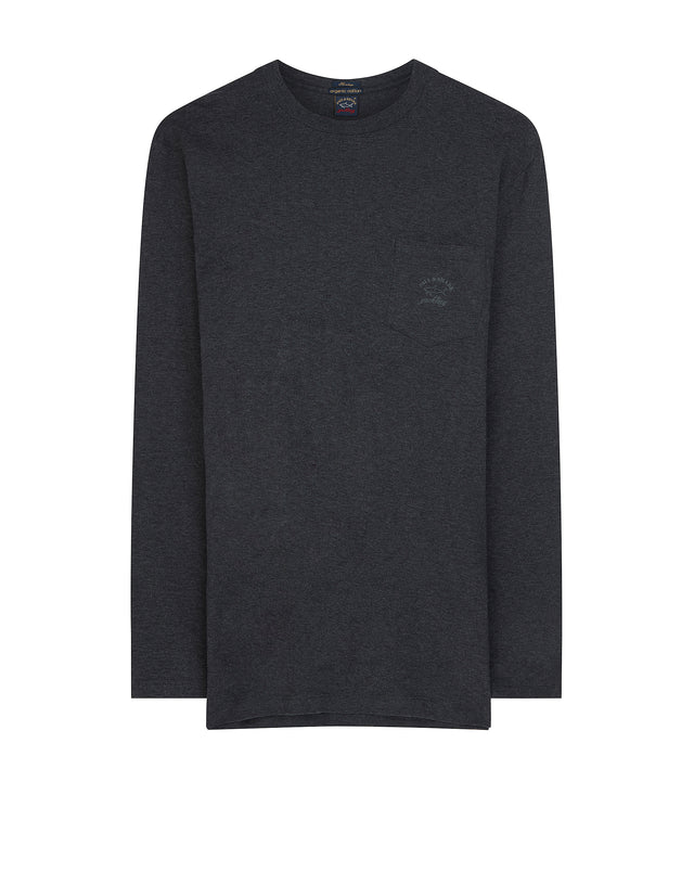Crewneck Long Sleeve Pocket T-Shirt in Charcoal