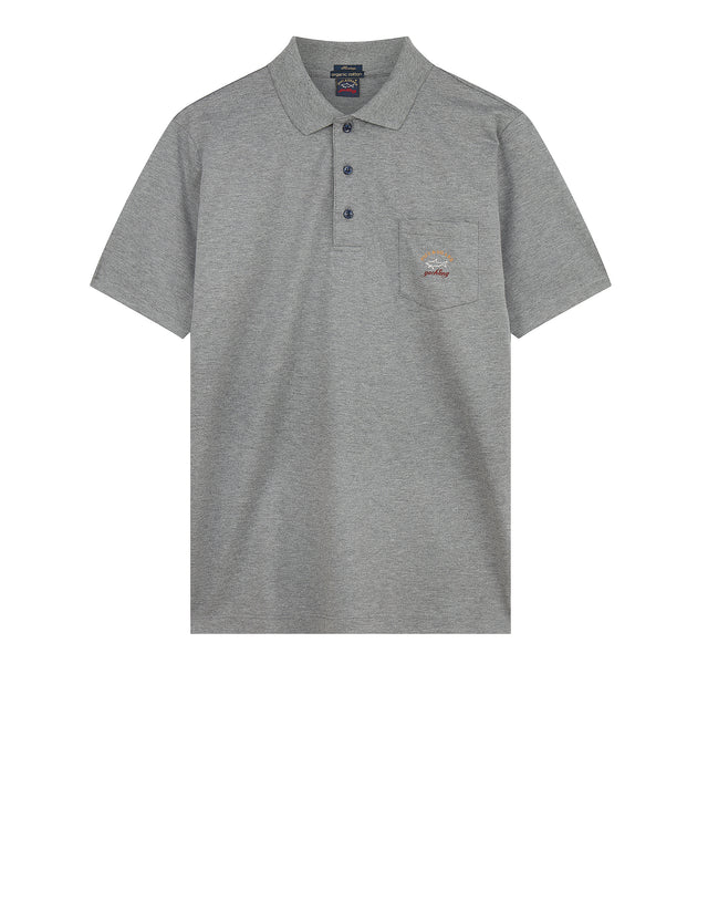 Three-Button Solid Colour Pocket Polo Shirt in Grey