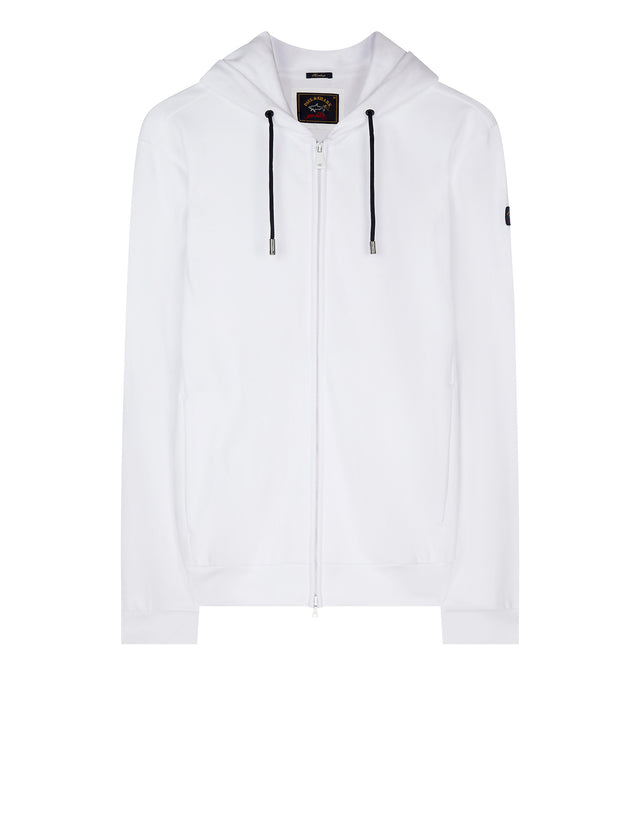 Zippered Collegiate Hoodie in White