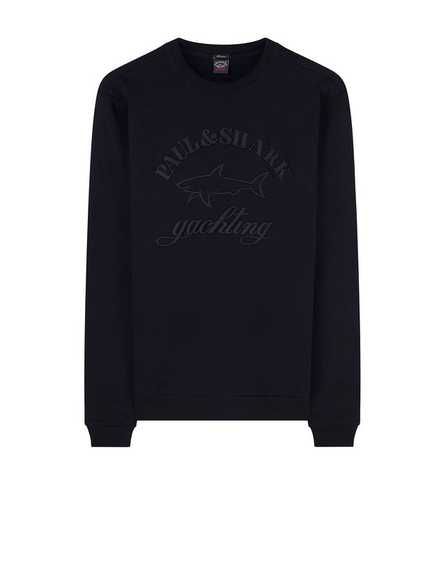 Yachting Embroidered Graphic Crewneck Sweatshirt in Midnight Blue