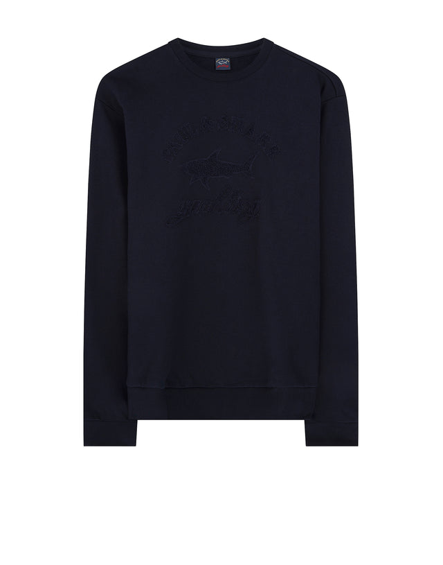 Sponge Embroidery Crewneck Sweater in Navy