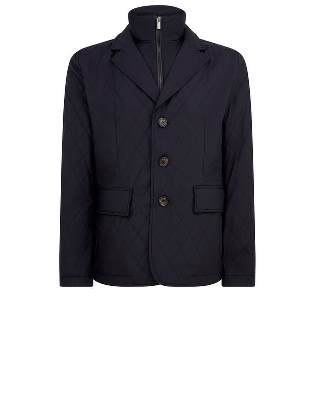 Quilted Blazer with Zip Collar in Navy