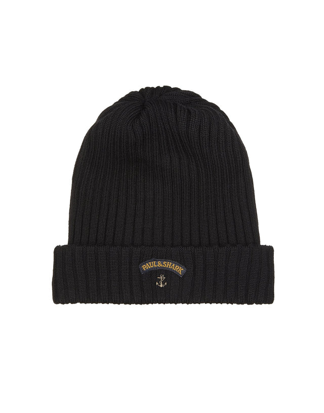 Ribbed Knit Hat in Black