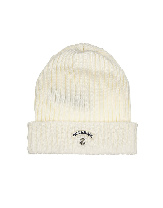 Ribbed Knit Hat in Ecru