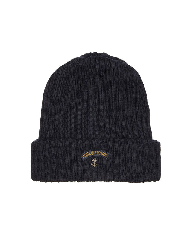 Ribbed Knit Hat in Navy