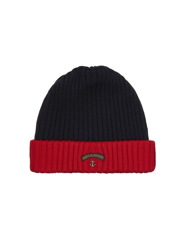 Two-Tone Ribbed Knit Hat in Navy and Red