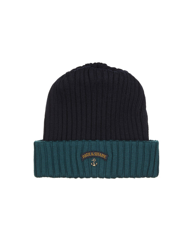 Two-Tone Ribbed Knit Hat in Navy and Teal
