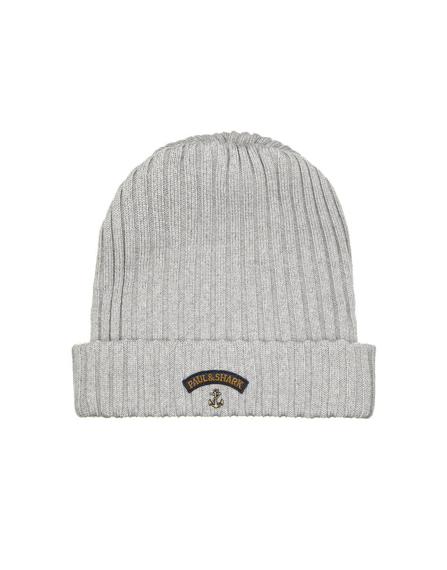 Ribbed Knit Hat in Light Grey