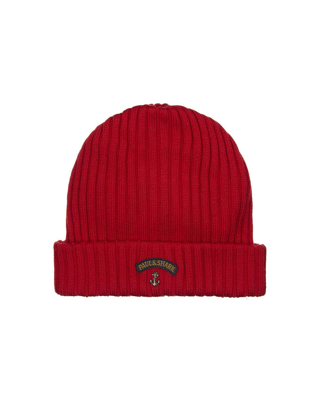 Ribbed Knit Hat in Red