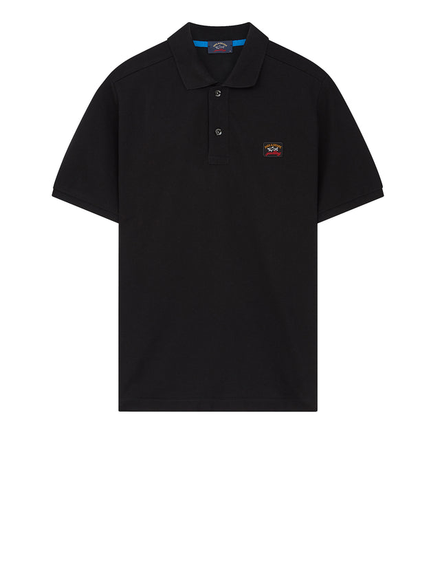 Chest Patch Polo Shirt in Black