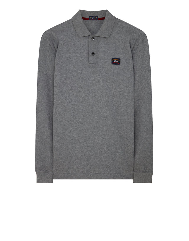 Chest Patch Long Sleeve Polo Shirt in Grey