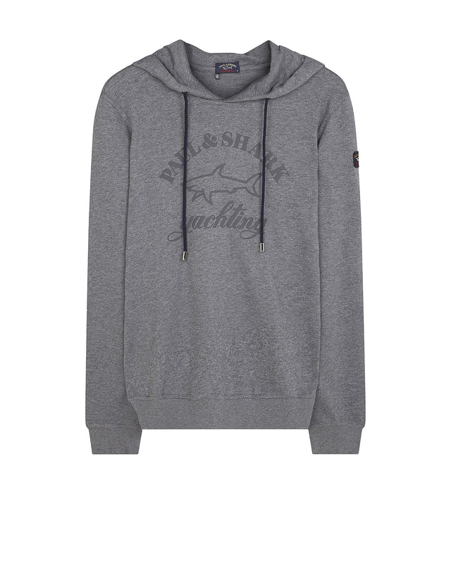Shark Fit Logo Hooded Sweatshirt in Grey