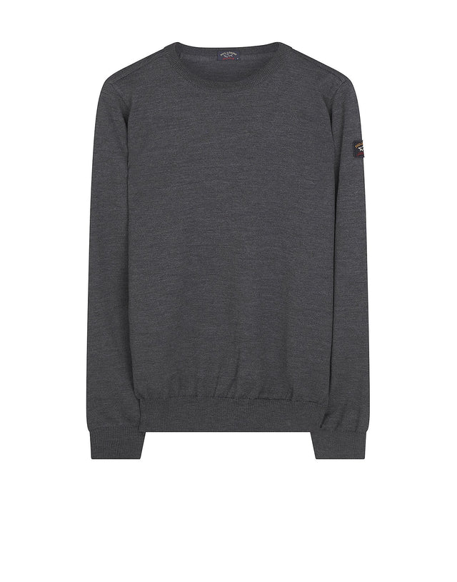 Shark Fit Logo Wool Sweatshirt in Grey