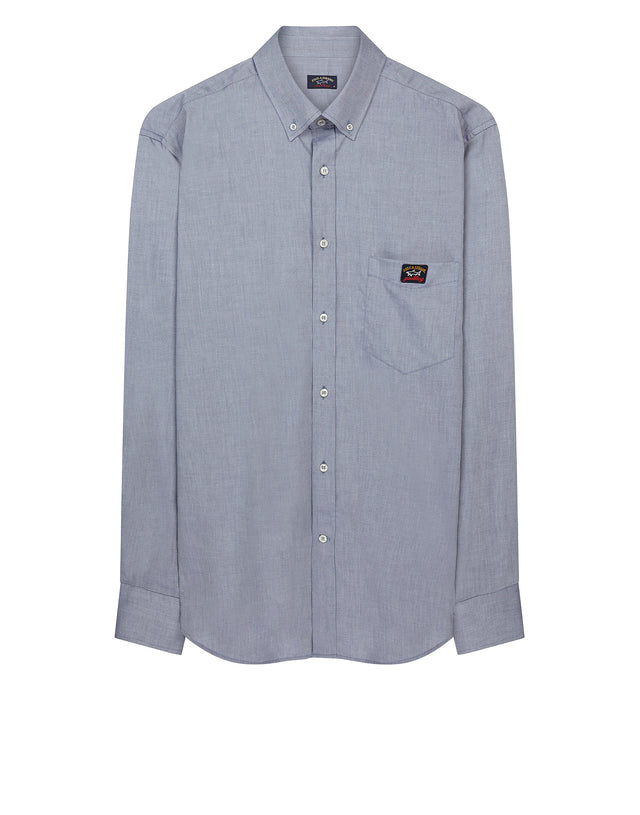 Button Down Long Sleeve Shirt in Blue