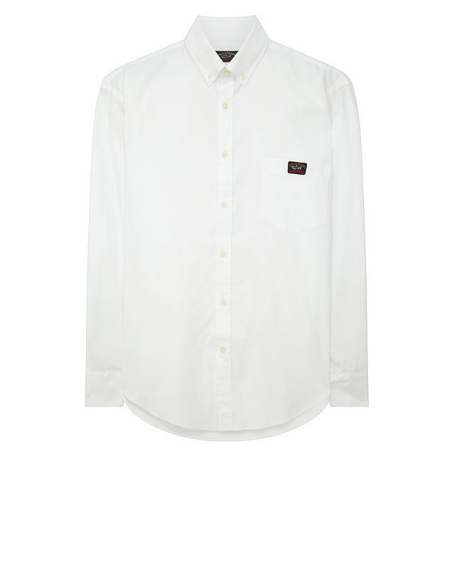 Button Down Long Sleeve Shirt in White
