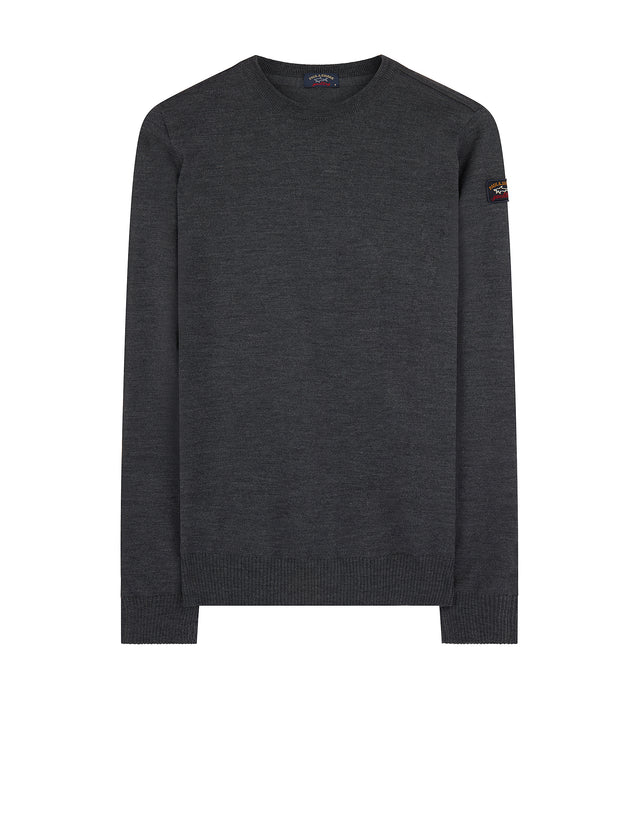 Light Knitted Crewneck Sweater in Charcoal